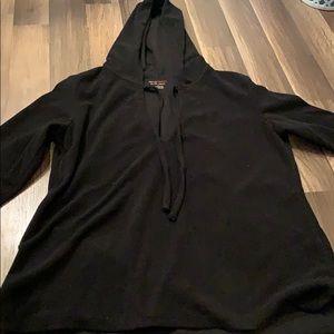 V neck, black fleece pull over